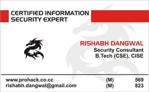 front of My Visiting Card