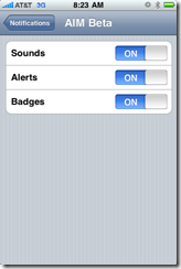 Notification Settings for AIM Beta
