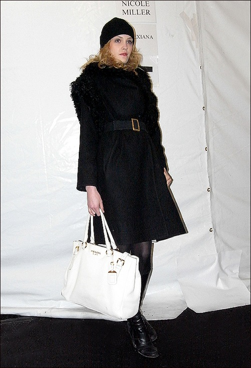 w model prada bag black coat