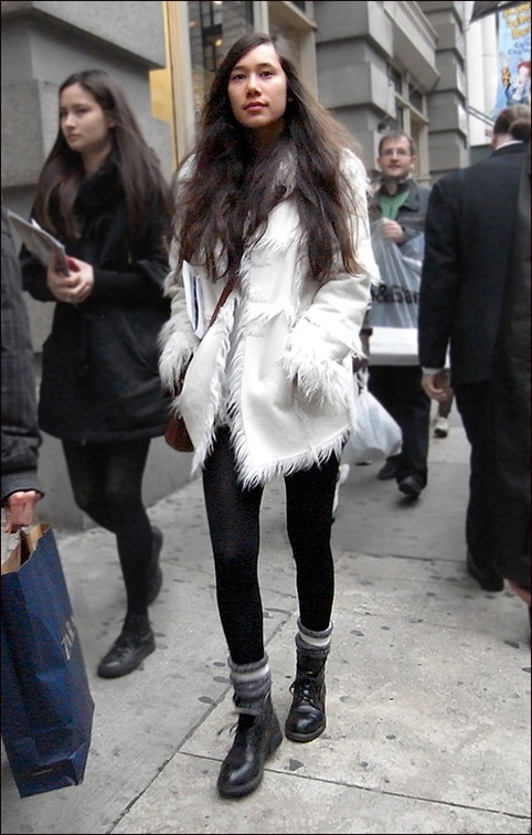 w white fur lined coat leggings