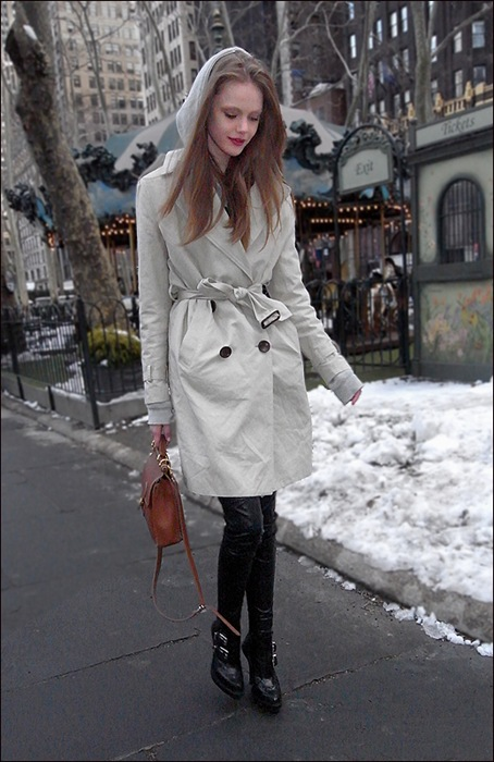 Frida bryant park  white trench coat black leather pants