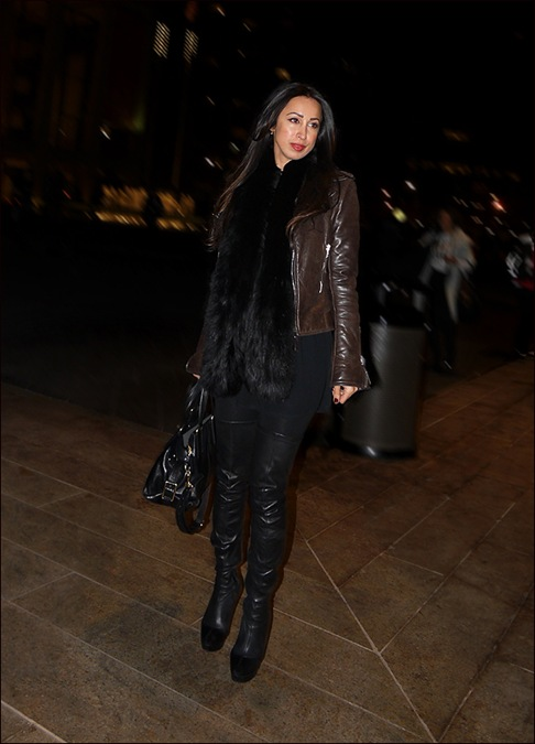 w black fur scarf brown leather jacket black thigh high boots