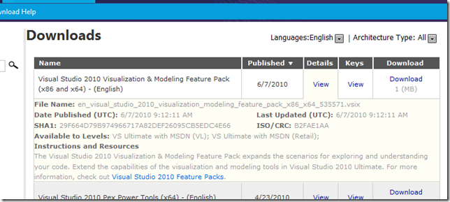 Visual Studio [Ultimate] 2010 Visualization & Modeling Feature Pack