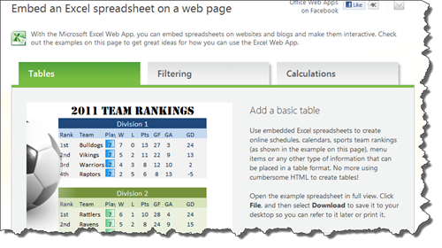 Embed Excel spreadsheets and charts into your web pages