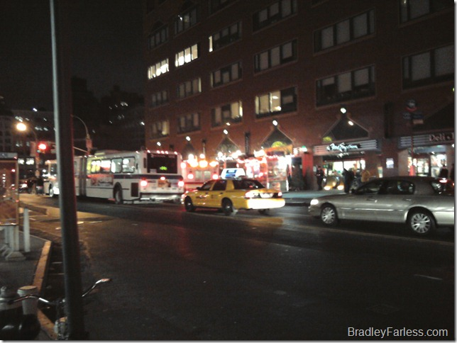 Emergency vehicles outside Union Square station.