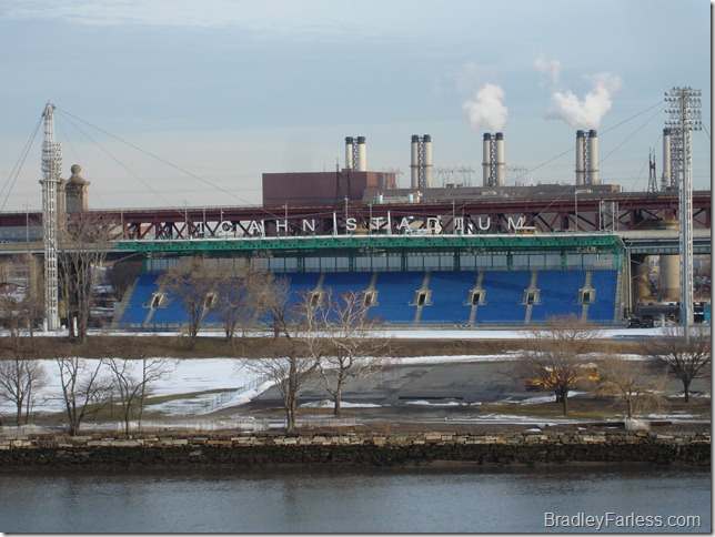 Icahn Stadium, as seen from East River Plaza.