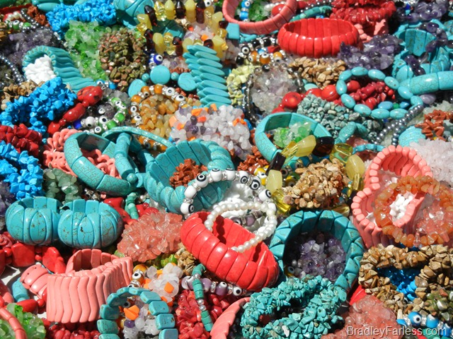 Costume jewelry for sale at a street fair in New York City.