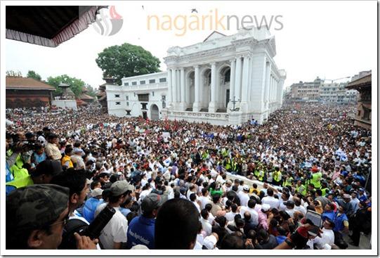 बसन्तपुरमा भएको शान्तिसभाका सहभागी। तस्बिरः चन्द्रशेखर कार्की