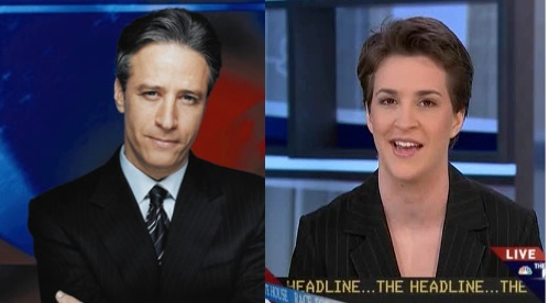 Rachel Maddow and Jon Stewart