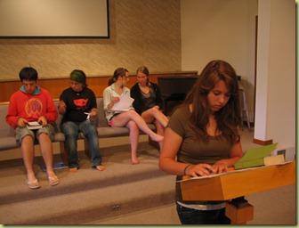 Emily practicing her sermon
