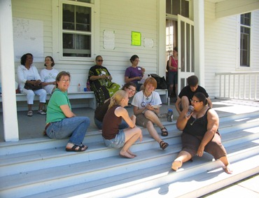Youngins on the porch at Illinois Yearly Meeting