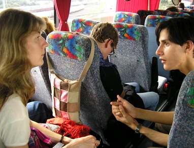 On a bus to the World Gathering of Young Friends, 2005