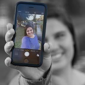 Color Selfie by Jim Lancaster - People Street & Candids ( selfie, b&w, iphone6, selective color, pwc )