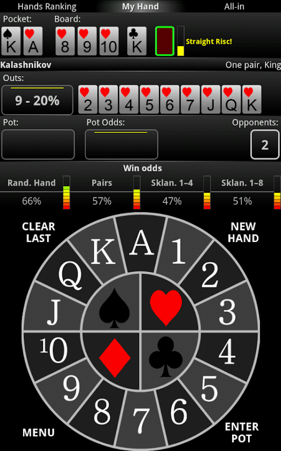 Poker hand odds calculator online