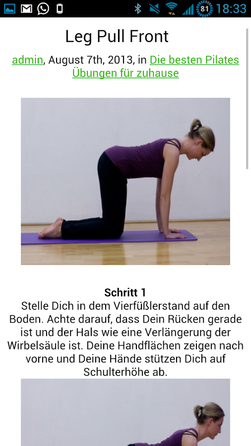 Pilates Übungen - screenshot
