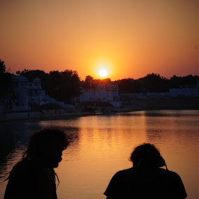 Sunset. by Tejaswa Trivedi - Landscapes Sunsets & Sunrises ( water, sunset, people )