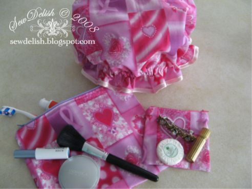 Shower Cap sew make showercap make-up zippered pouch Breast Cancer Awareness Fabric