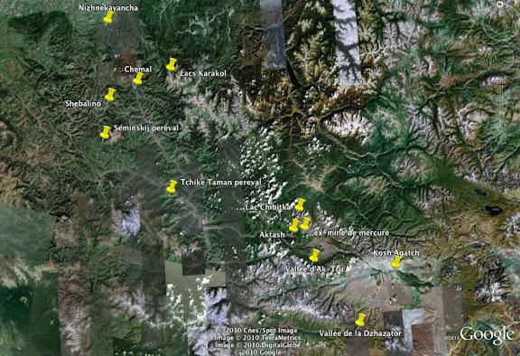 Altaï : itinérare (2 au 15 juillet 2010)
