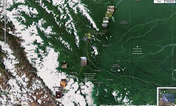 Localisation des photos : Vallée du Kosñipata, Pilcopata et Parc du Manu