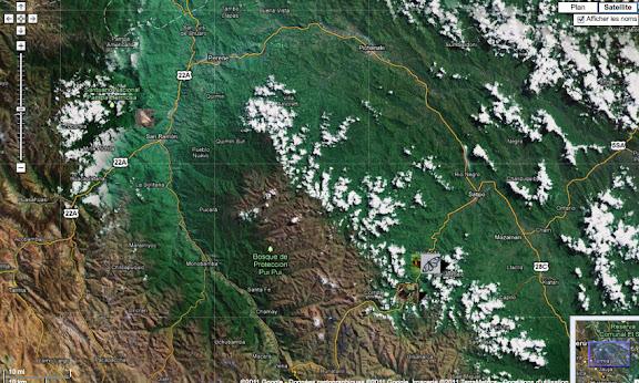 Localisation des photos autour d'Allapa sur la route de Satipo (au sud-est) et à San Ramon (au nord-ouest)