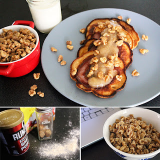 Pancetta-Filled Sweet Potato Pancakes with Chipotle-Maple Walnuts.