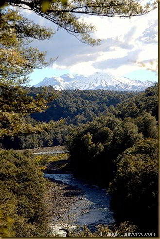 View up the Tongariro River of Mt Ruahepu