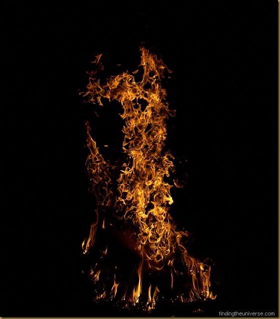 High speed shot of campfire flames