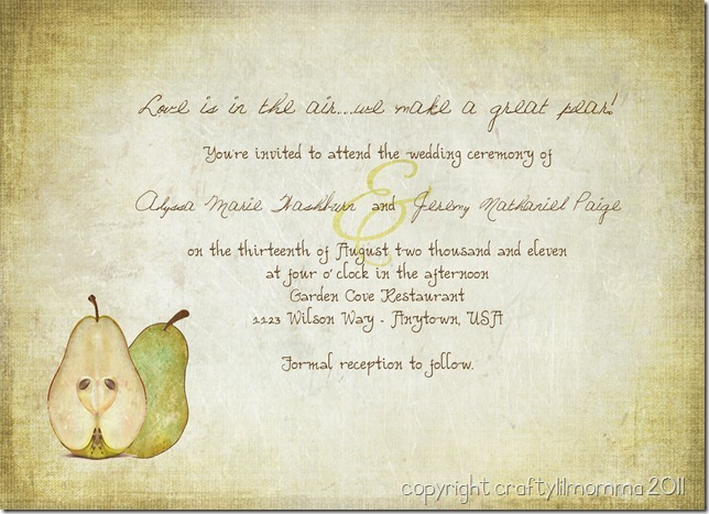 Perfect Wedding Invitations: Craftylilmomma The Official Blog: The Perfect Pear Vintage