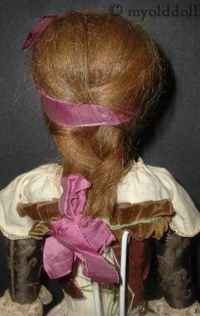 Antique Queen Anne human hair wig wooden wood doll 1770s 1780s 1700s