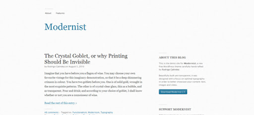 Modernist wordpress template