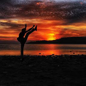 fighter at Sunset  by Azay Boyan - Landscapes Sunsets & Sunrises