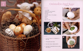 Book Nature Printing. Onionskin-dyed eggs