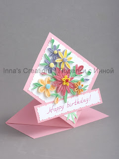 Pink spring card, side view