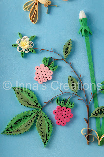 Dandelions and raspberries. Quilling