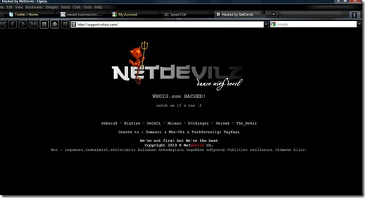 Deep Look At Netdevilz XSS : Whois.com Hacked