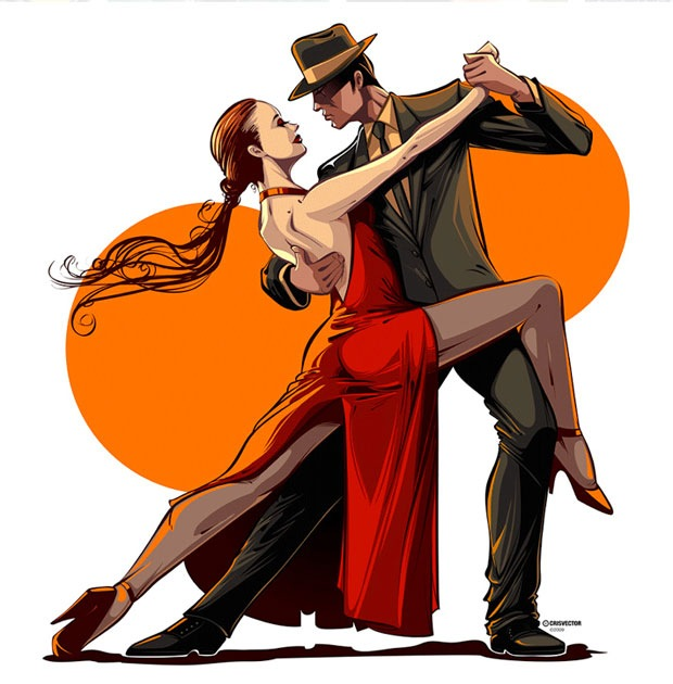 Tango Dance Couple Vector Illustration