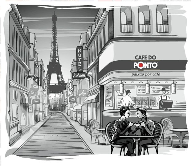 Illustration of Café in Paris