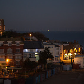 Broadstairs with a full moon. by Mark Milham - City,  Street & Park  Night ( beach hut, broadstairs, viking bay, bleak house, kent, thanet, beach )