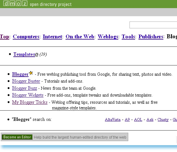 My-Blogger-Tricks-Listed-in DMOZ Directory