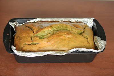 photo of Matcha marble tea cake in a loaf pan