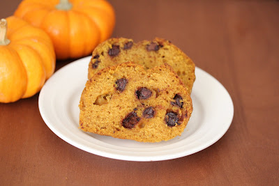 photo of two slices of Chocolate chip pumpkin bread on a plate