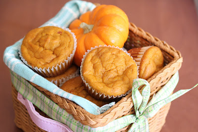 photo of a basket of pumpkin muffins