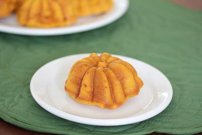 photo of one pumpkin mochi cake on a plate