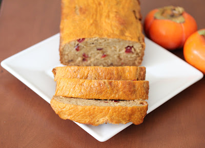 photo of sliced Cranberry persimmon bread