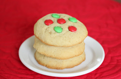 close-up photo of a stack of M&M Holiday Cookies