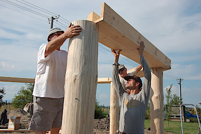 Straw Bale Dome: Wooden columns and ring beam
