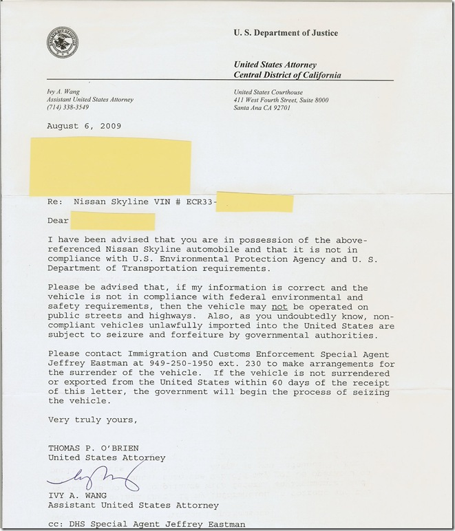 Us Customs Seizure Letter.Us Department Of Justice Letter 60 Days To Export Or