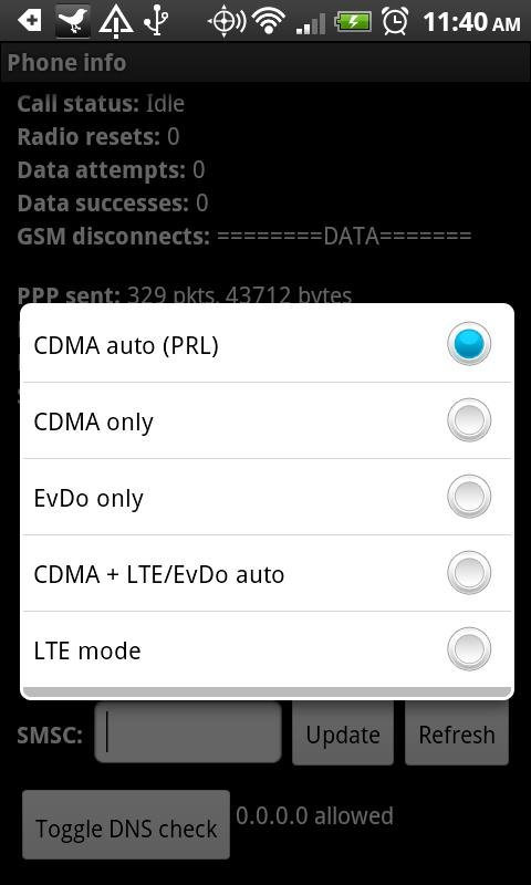 LTE OnOFF - HTC Thunderbolt - screenshot