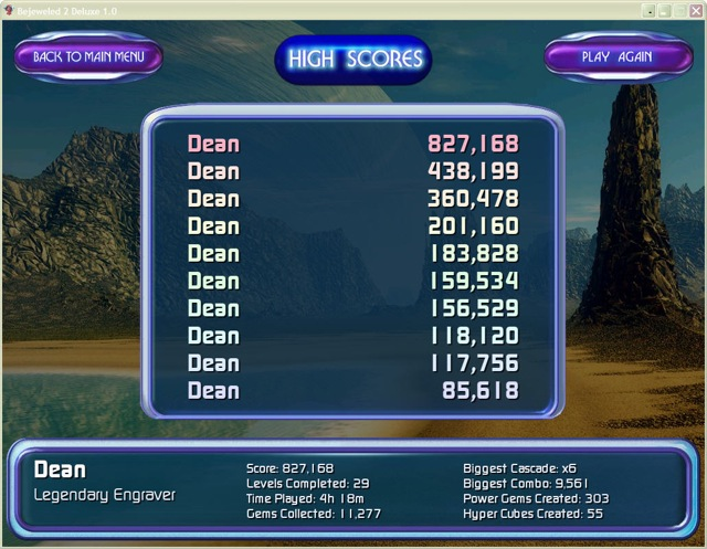 Dean's Bejeweled Classic-Twilight High Score (Full Size)