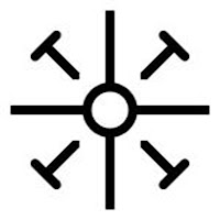 Coptic Cross -  A small circle from which emanate four arms of equal length, with angled T shapes in the corner, cross-pieces outward, representing the nails used in Jesus' crucifixion. This cross receives its name from Coptic Christianity, which centered around Alexandria, Egypt.